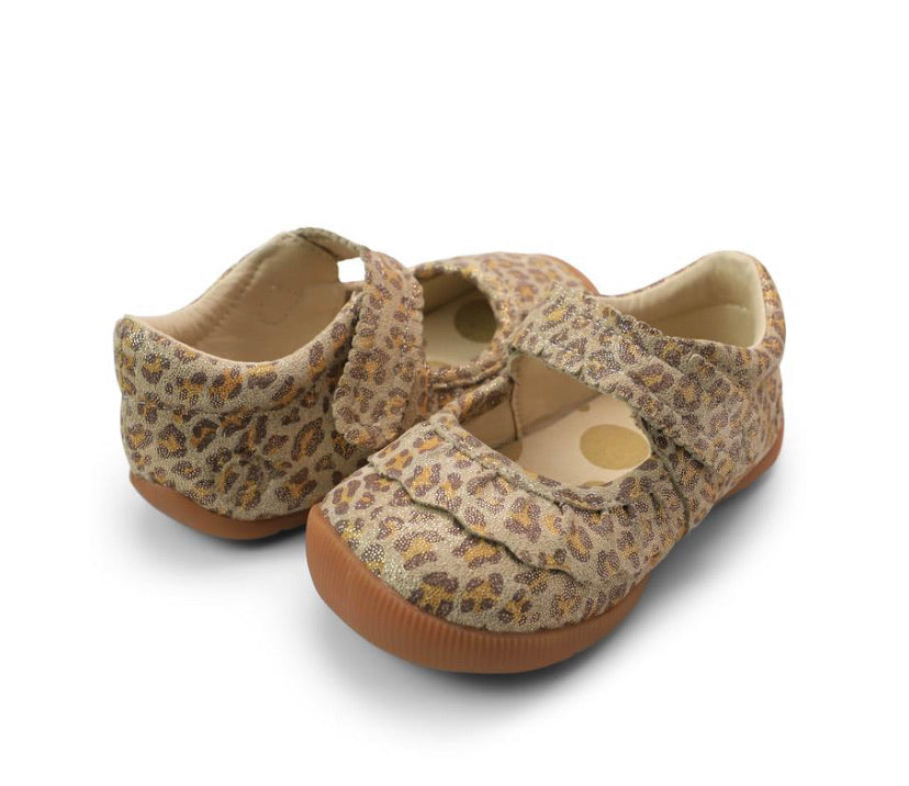 Ruche Mary Jane Walkers in Leopard Shimmer  - Doodlebug's Children's Boutique