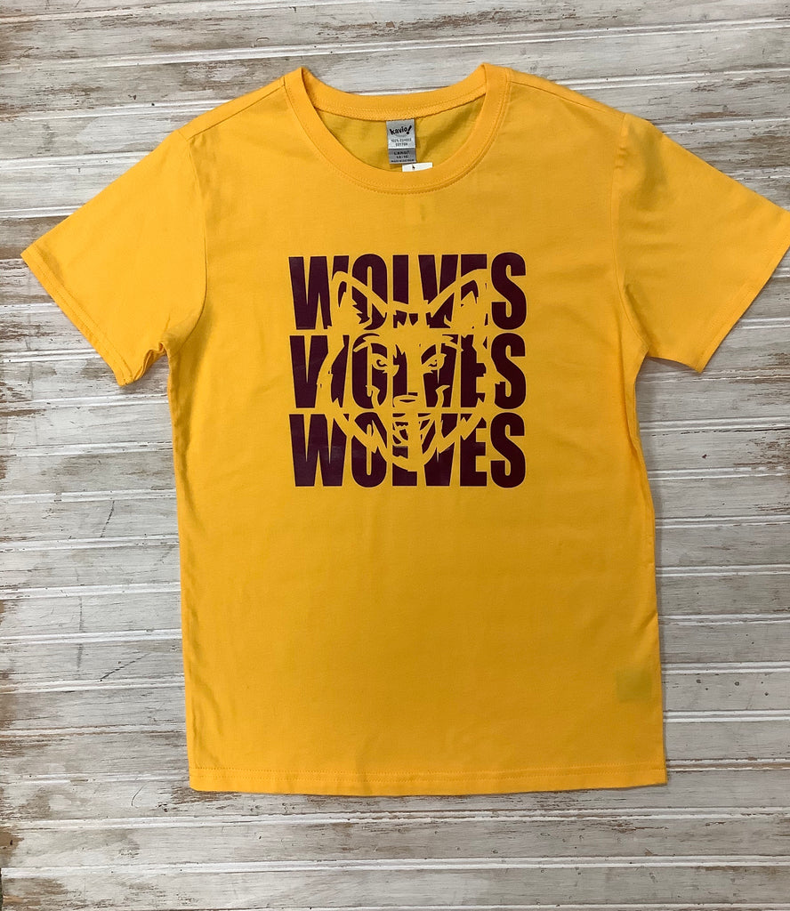 Wolves Yellow Tee  - Doodlebug's Children's Boutique