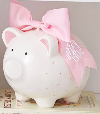 Mud Pie Pink Piggy Bank with Bow