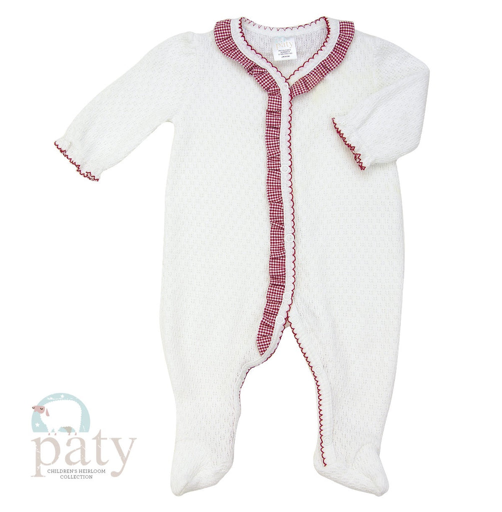 Footie with Red Gingham Ruffle 3 months - Doodlebug's Children's Boutique