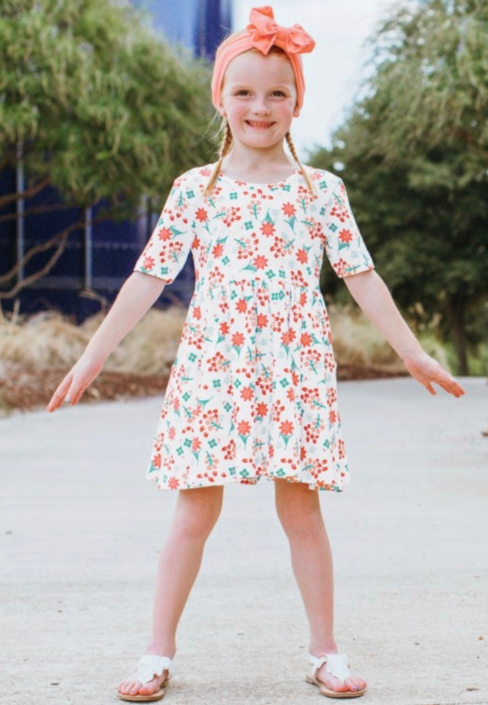 Coral Charm Twirl Dress  - Doodlebug's Children's Boutique