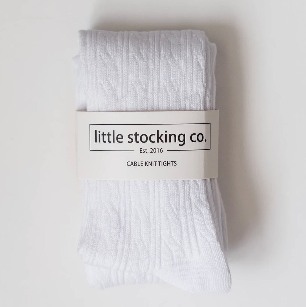 Cable Knit Tights in White  - Doodlebug's Children's Boutique