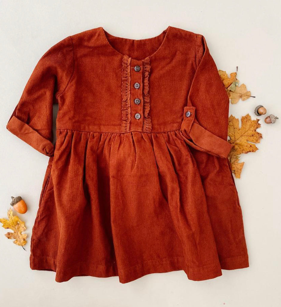 Rust Corduroy Dress  - Doodlebug's Children's Boutique