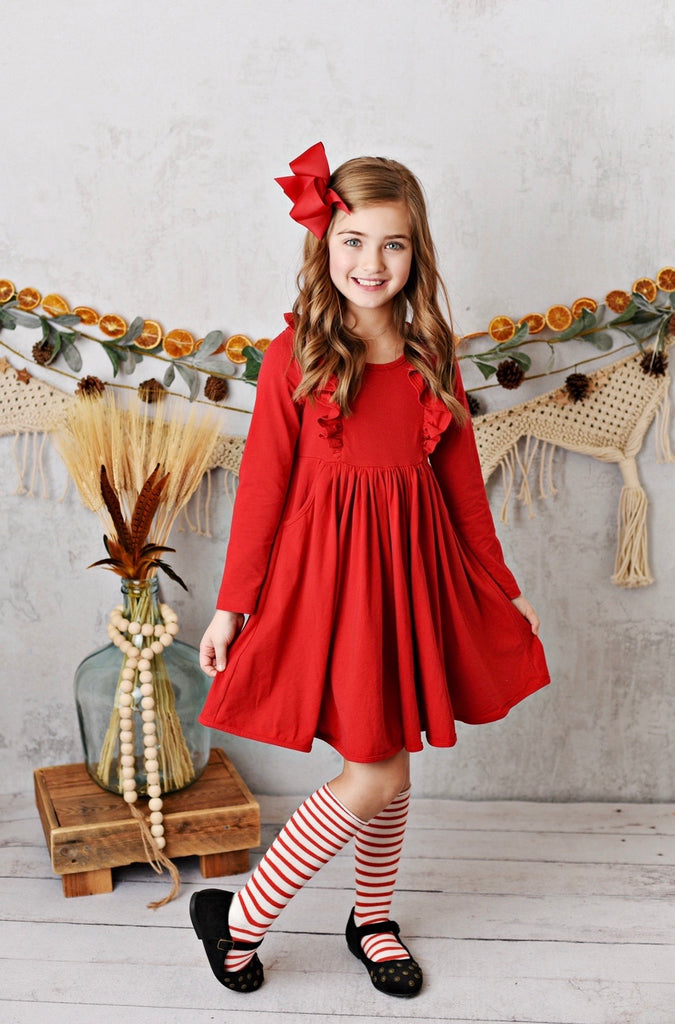 Red Bella Essentials Pocket Dress  - Doodlebug's Children's Boutique