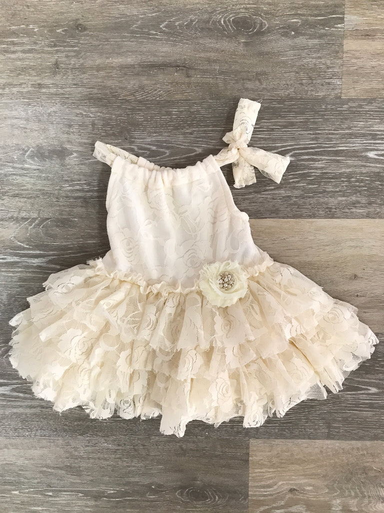 Cuddle Couture Ivory Tiered Lace Dress
