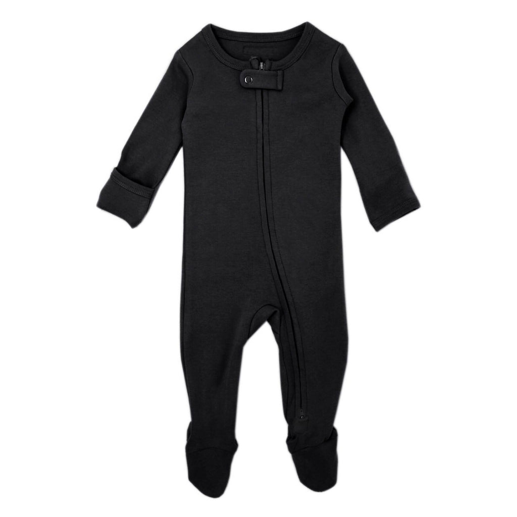 Organic Zipper Footie in Black Black / Preemie-Newborn - Doodlebug's Children's Boutique