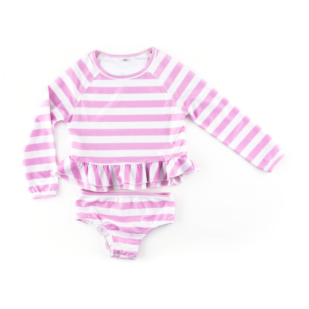 Pink Striped Tankini  - Doodlebug's Children's Boutique