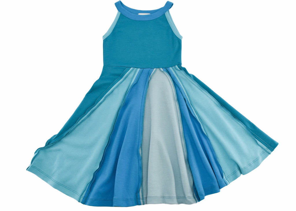 Ocean and Sky Dress in Capri Breeze  - Doodlebug's Children's Boutique