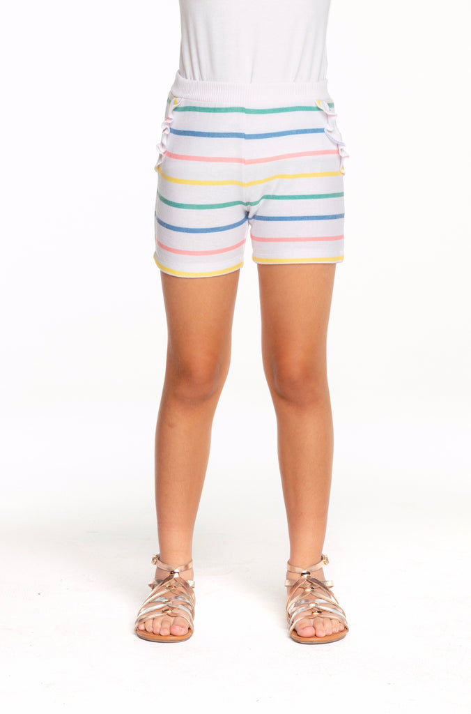 Stripe Cozy Knit Ruffle Shorts  - Doodlebug's Children's Boutique