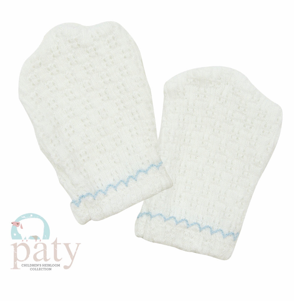 White Mittens with Blue Trim  - Doodlebug's Children's Boutique
