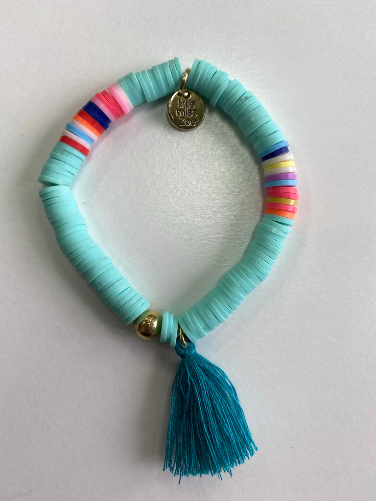 Bracelet with Tassel Aqua with Teal Tassel - Doodlebug's Children's Boutique