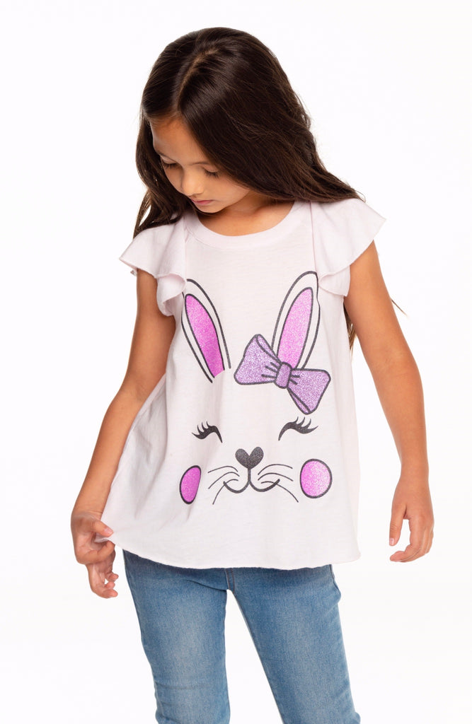 Pretty Bunny Flutter Sleeve Tee  - Doodlebug's Children's Boutique