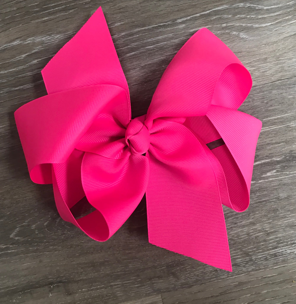 Large Solid Hair Bow in Neon Pink Neon Pink - Doodlebug's Children's Boutique