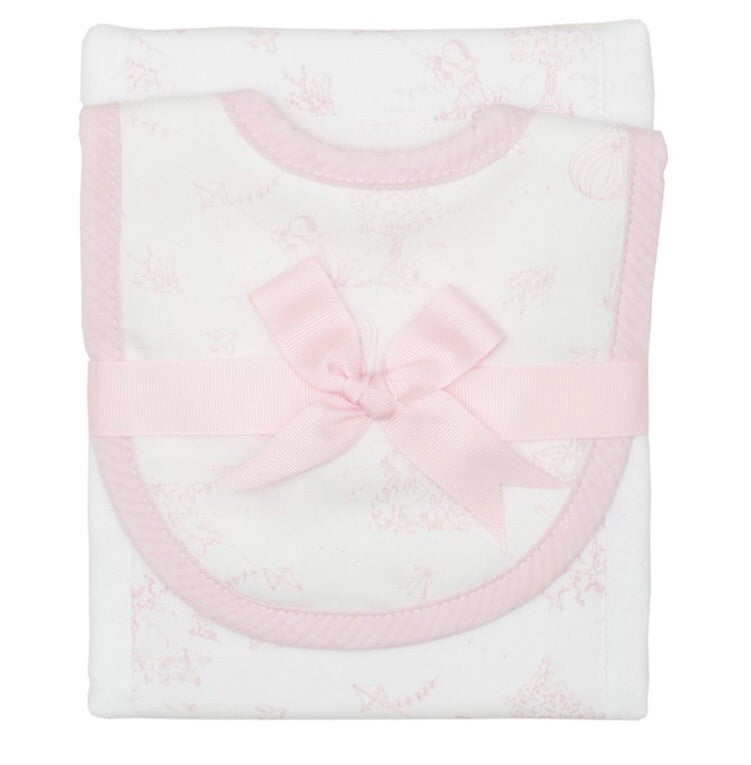 Pink Kite Drooler Bib and Burp Set Pink Kite - Doodlebug's Children's Boutique