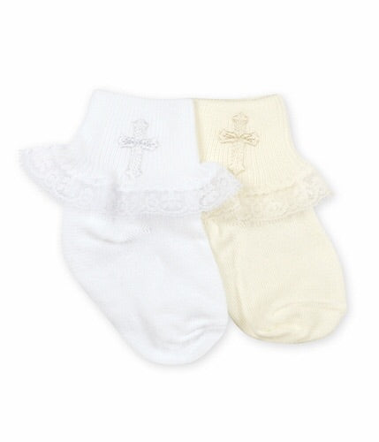 Christening Socks with Lace in White  - Doodlebug's Children's Boutique