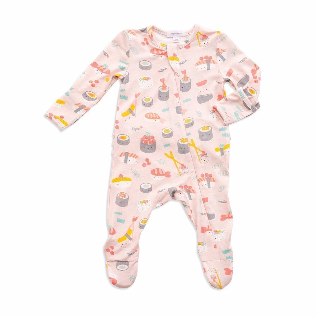 Ruffle Zipper Footie in Pink Sushi  - Doodlebug's Children's Boutique