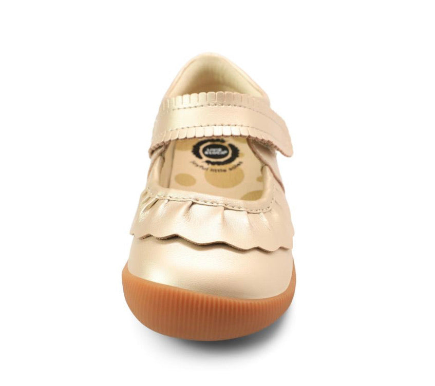 Ruche Mary Jane in Champagne  - Doodlebug's Children's Boutique