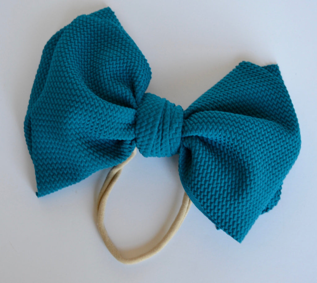 Teal Bella Bow Teal - Doodlebug's Children's Boutique