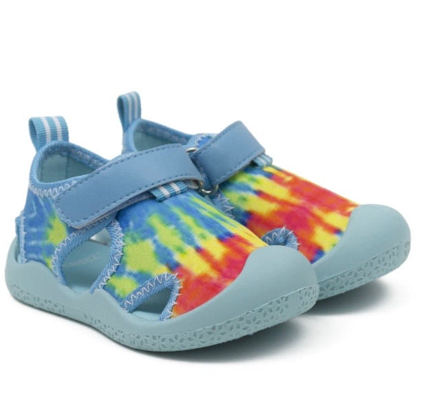 Remi Water Shoes in Aqua Tie Dye  - Doodlebug's Children's Boutique