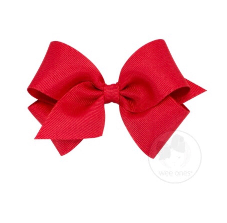 Wee Ones Small Classic Bow Red - Doodlebug's Children's Boutique