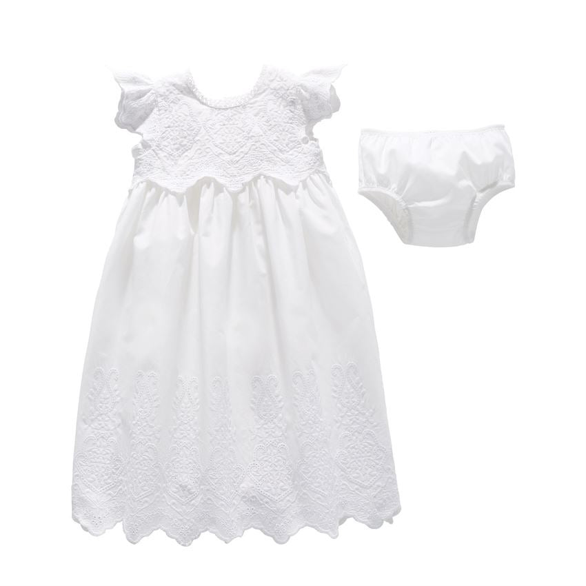 Eyelet Christening Gown Set  - Doodlebug's Children's Boutique