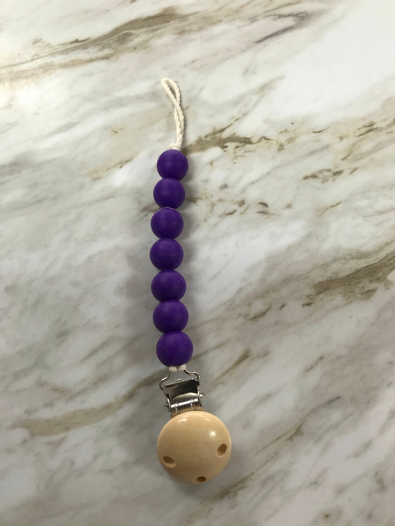 Molly Hayes & Co. Teething Bead Pacifier Clip Purple - Doodlebug's Children's Boutique