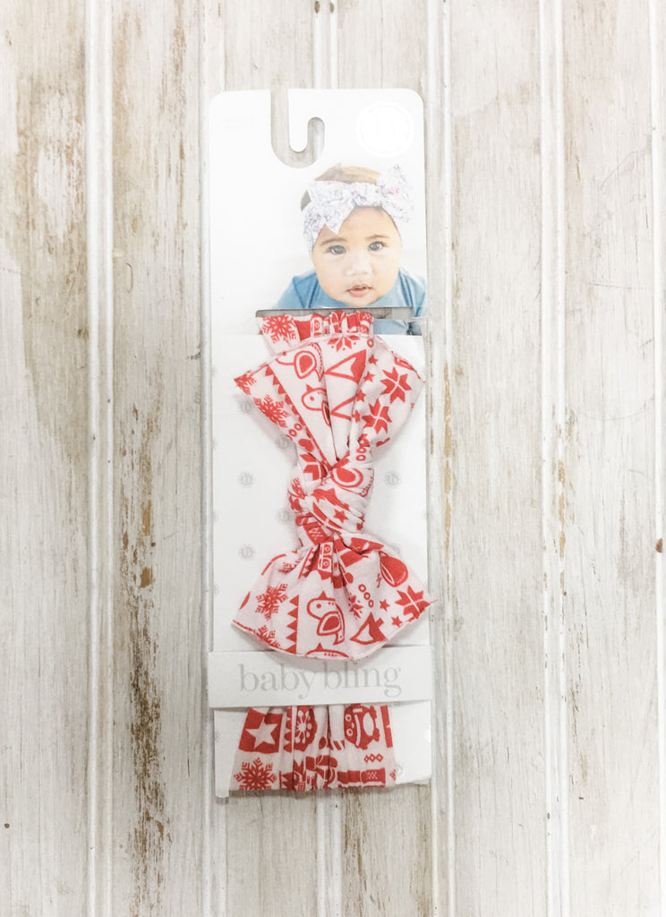 ZZ Baby Bling Headband Red and White Christmas Knot - Doodlebug's Children's Boutique