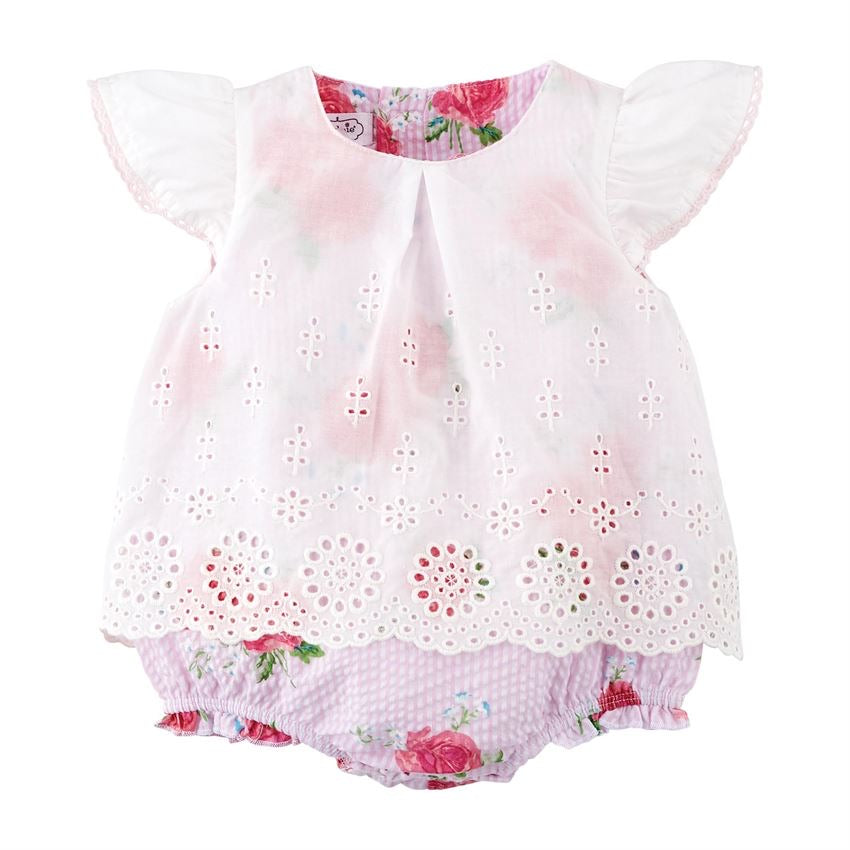 Rose Eyelet Overlay Crawler  - Doodlebug's Children's Boutique