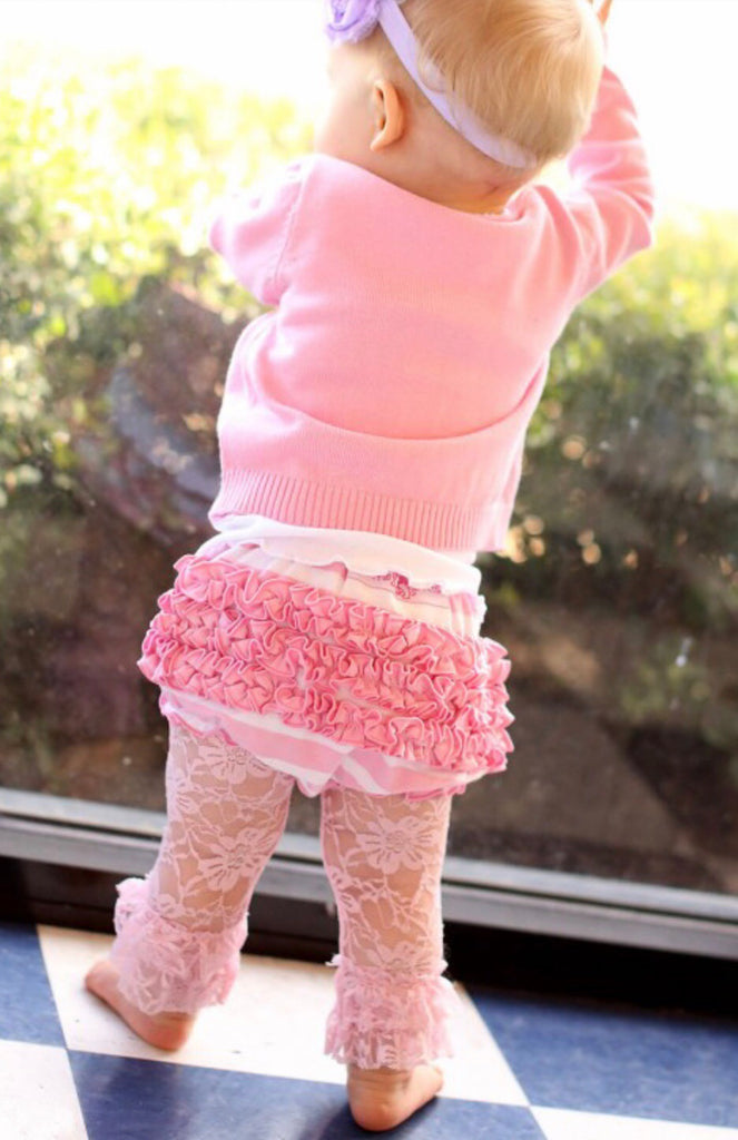 Pink Lace Ruffled Leggings  - Doodlebug's Children's Boutique