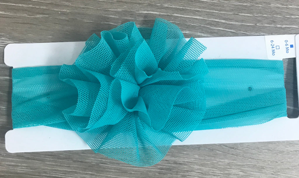 Teal Mesh Puff Headband Teal / 0-6 months - Doodlebug's Children's Boutique
