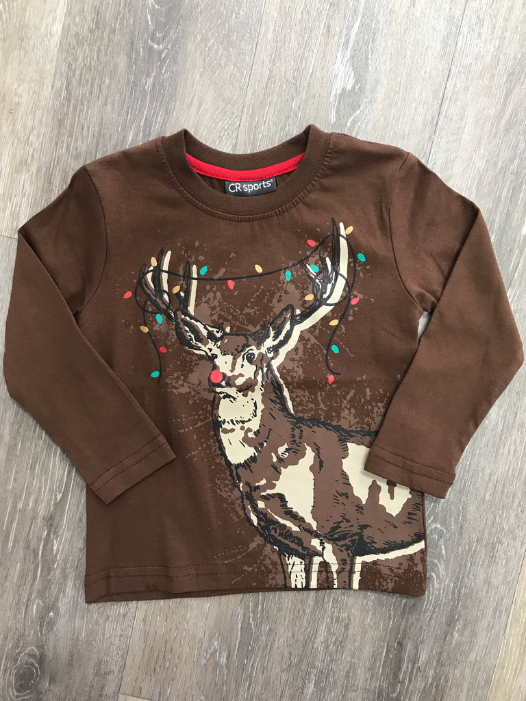CR Sports Christmas Deer Shirt  - Doodlebug's Children's Boutique