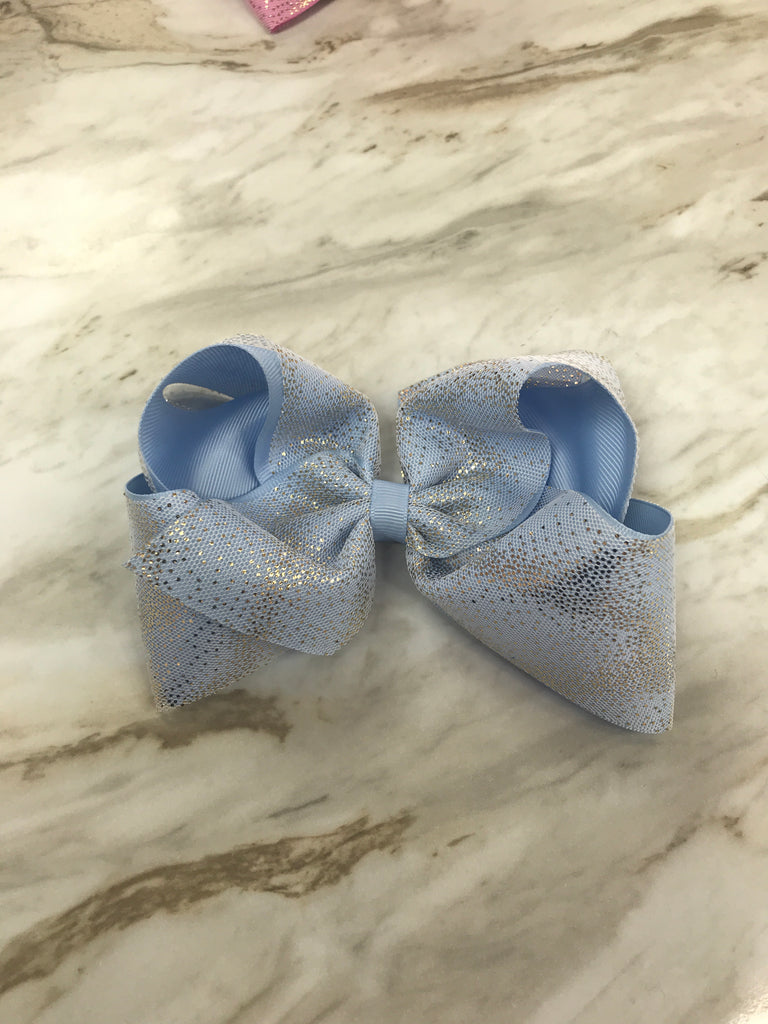 Bluebird King Glitter Dust Overlay Bow  - Doodlebug's Children's Boutique