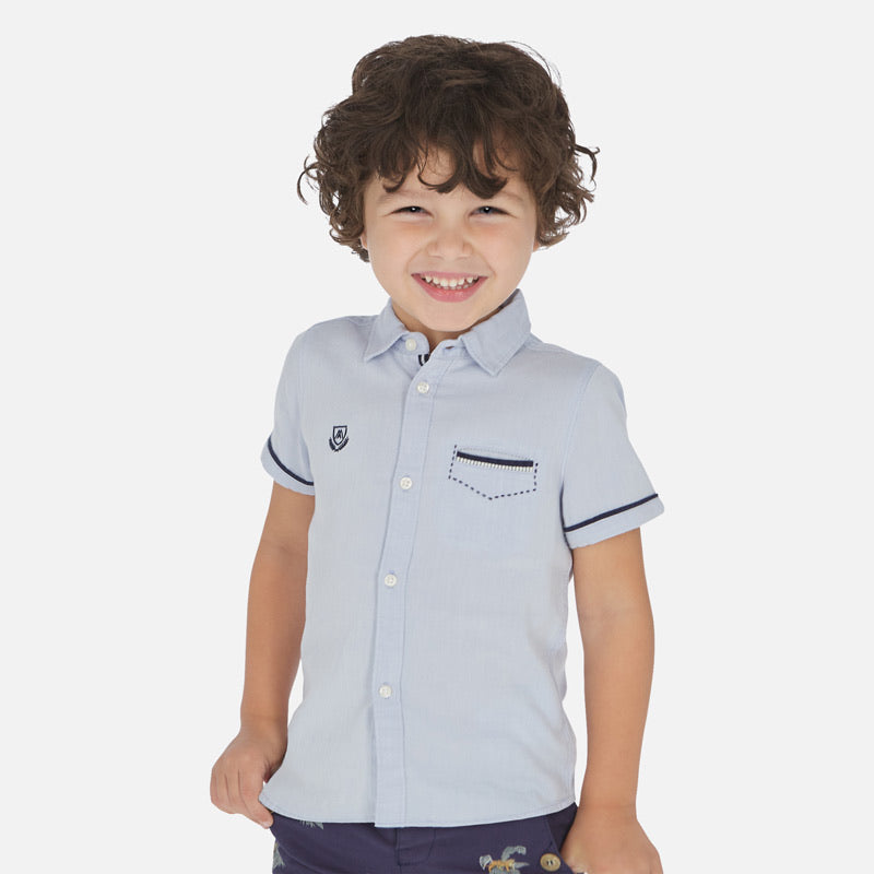 Button Down Shirt in Blue Sky  - Doodlebug's Children's Boutique