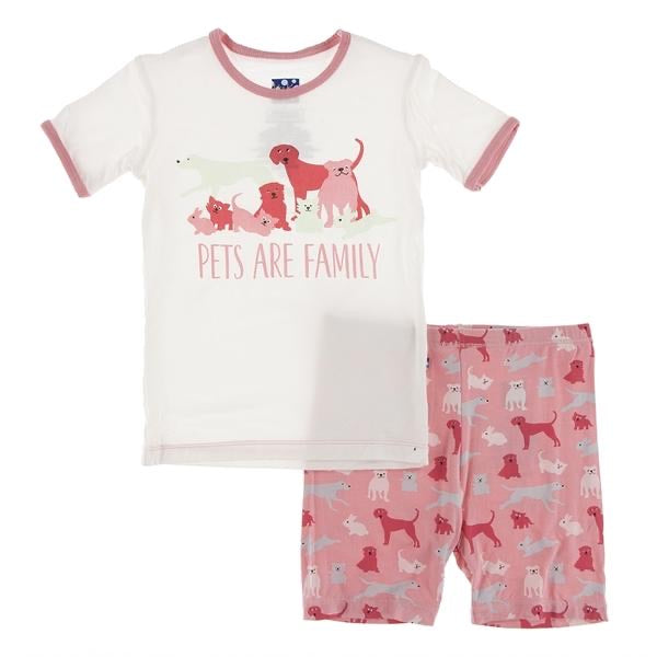 Piece Print Short Sleeve Pajama Set with Shorts in Strawberry Domestic Animals  - Doodlebug's Children's Boutique