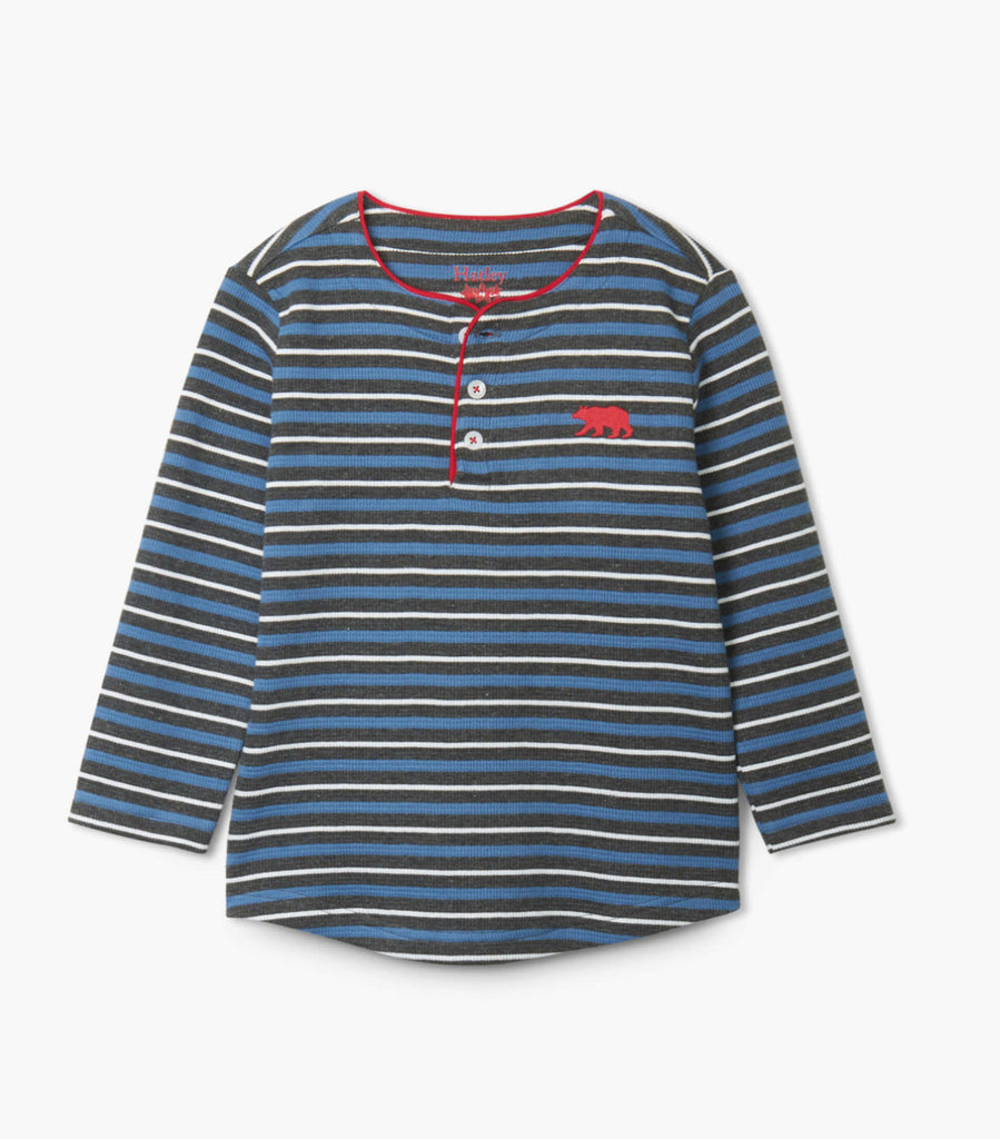 Winter Stripe Long Sleeve Henley  - Doodlebug's Children's Boutique