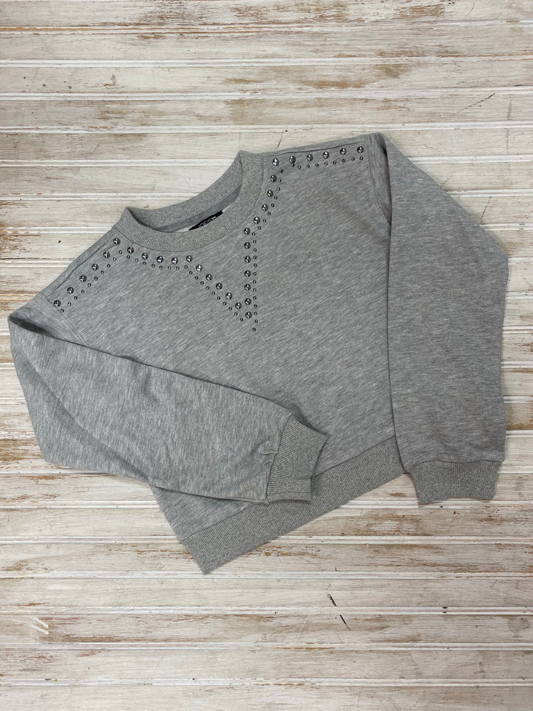 Heather Grey Beaded Crewneck  - Doodlebug's Children's Boutique