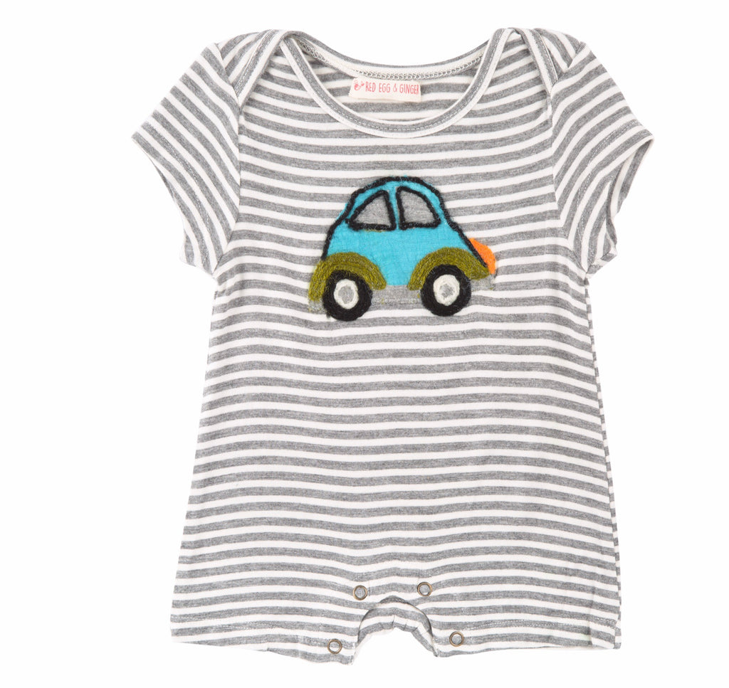 Red Egg and Ginger Beetle Car Stripe Romper