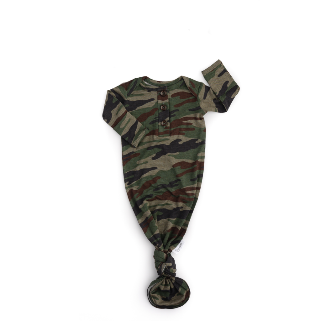 Camo Signature Tie Button Gown Newborn - Doodlebug's Children's Boutique