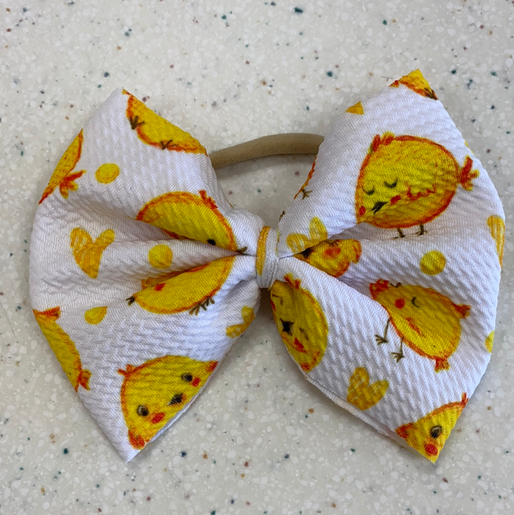 Little Chick Bow on Nylon  - Doodlebug's Children's Boutique
