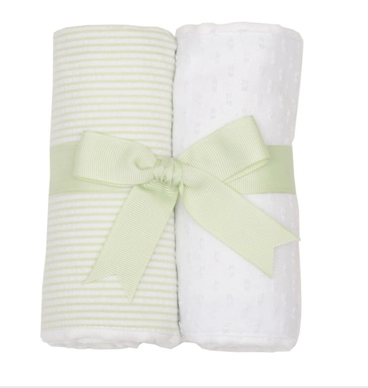 Green Stripe and White 2 Pack Burp Pad Set Green Stripes and White - Doodlebug's Children's Boutique