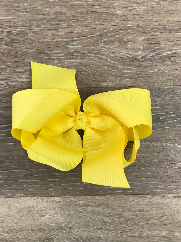 Yellow Large Solid Hair Bow Yellow - Doodlebug's Children's Boutique