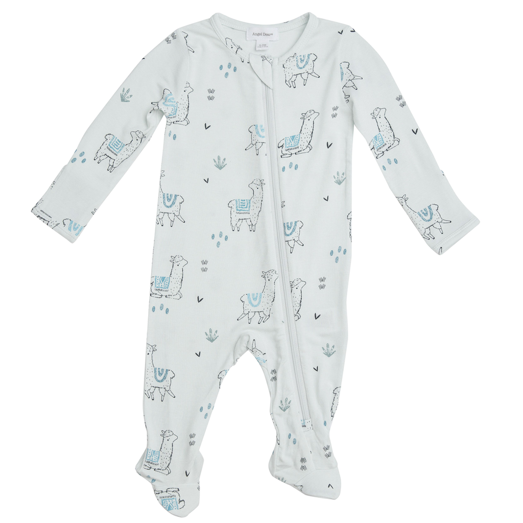Zipper Footie in Blue Llama  - Doodlebug's Children's Boutique