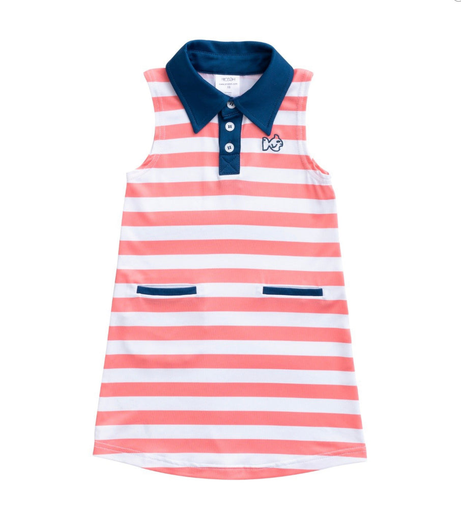 Performance Dress in Peach, Navy and White  - Doodlebug's Children's Boutique