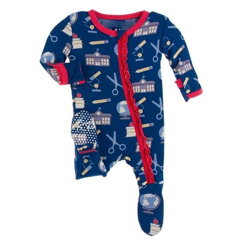 Print Muffin Ruffle Footie with Zipper in Navy Education  - Doodlebug's Children's Boutique