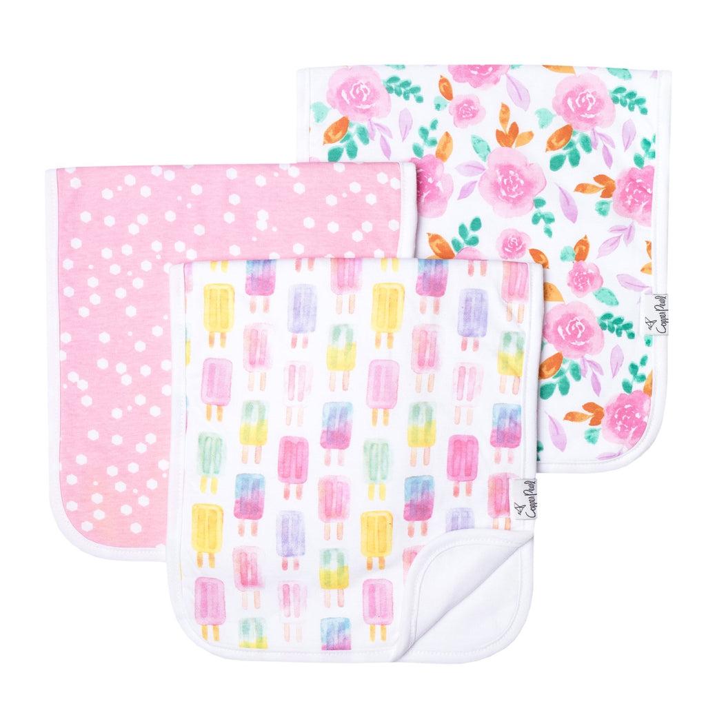 Summer 3 Pack Burp Cloths  - Doodlebug's Children's Boutique