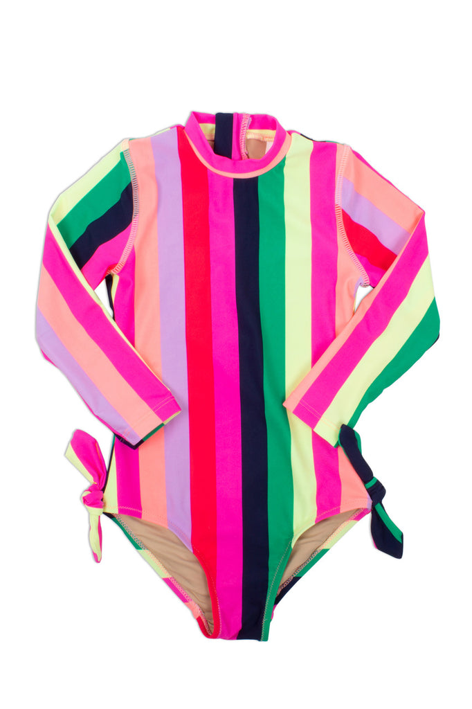 Long sleeve one piece multi stripe  - Doodlebug's Children's Boutique