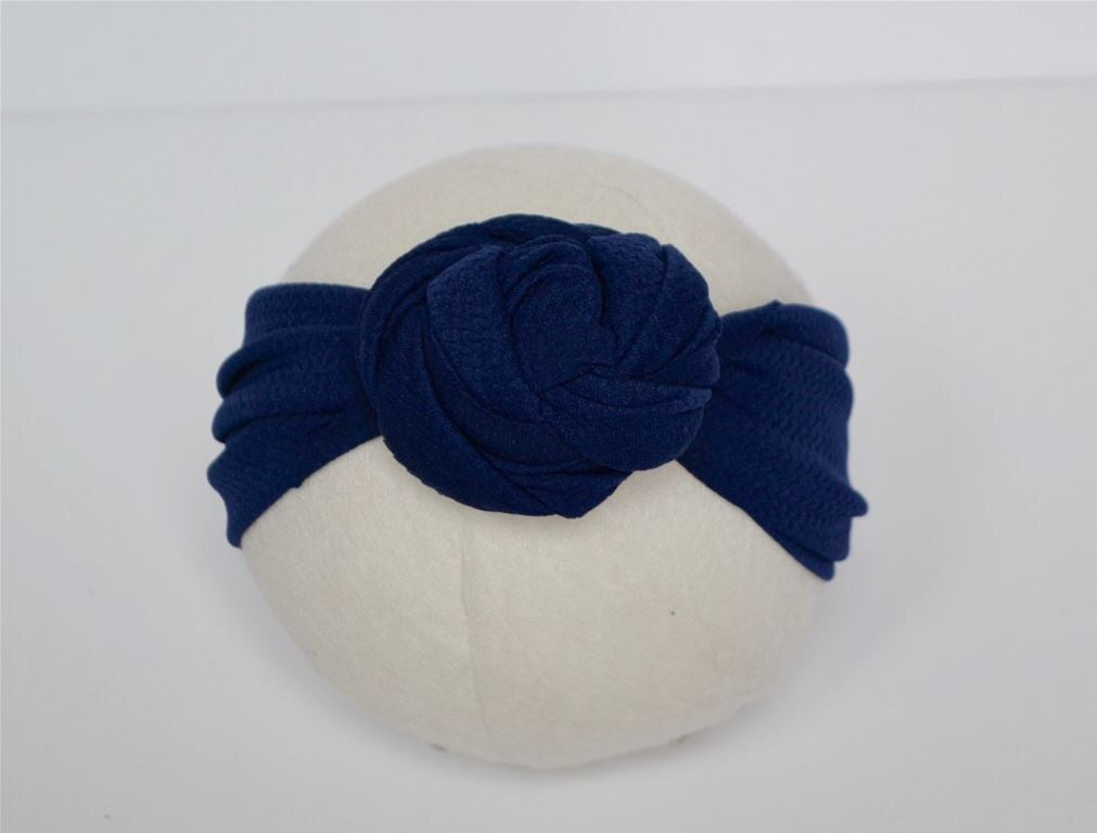 Navy Top Knot Headband Navy / Size 1 (newborn-6 months) - Doodlebug's Children's Boutique