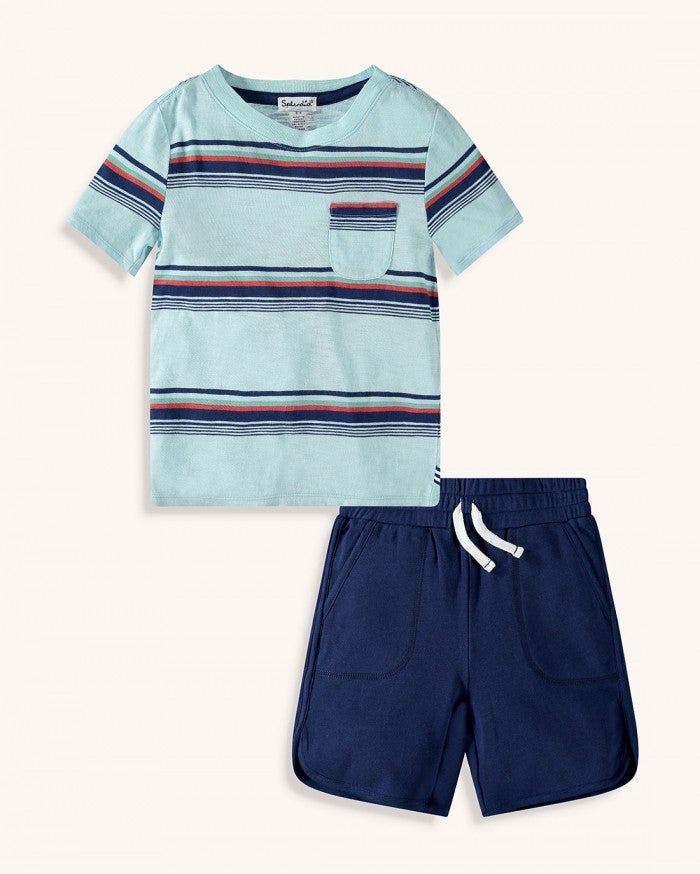 Bright Stripe Tee Set  - Doodlebug's Children's Boutique