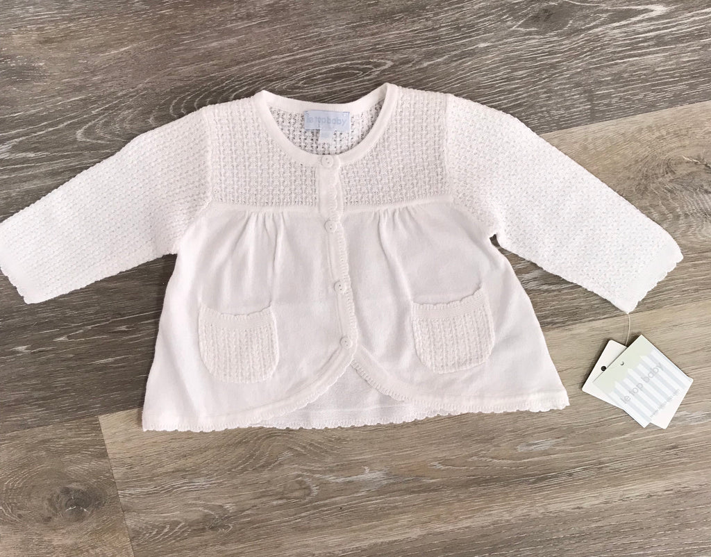 Le Top Baby White Cardigan  - Doodlebug's Children's Boutique