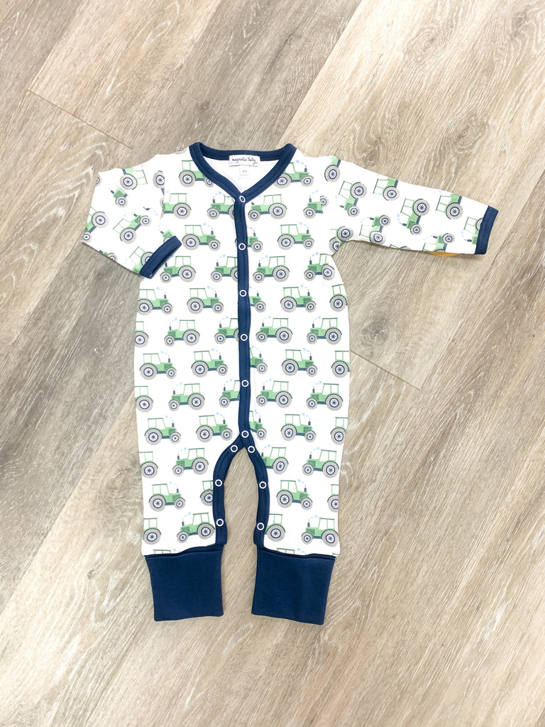 Tractor Printed Playsuit  - Doodlebug's Children's Boutique